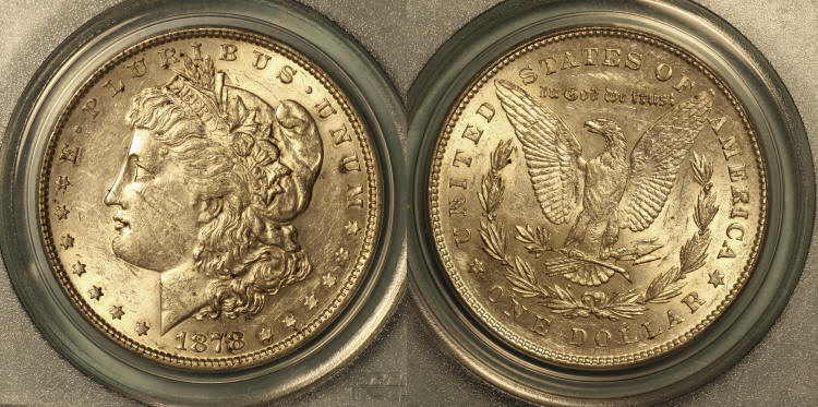 1878 7 Tailfeathers Morgan Silver Dollar PCGS AU-53 camera small