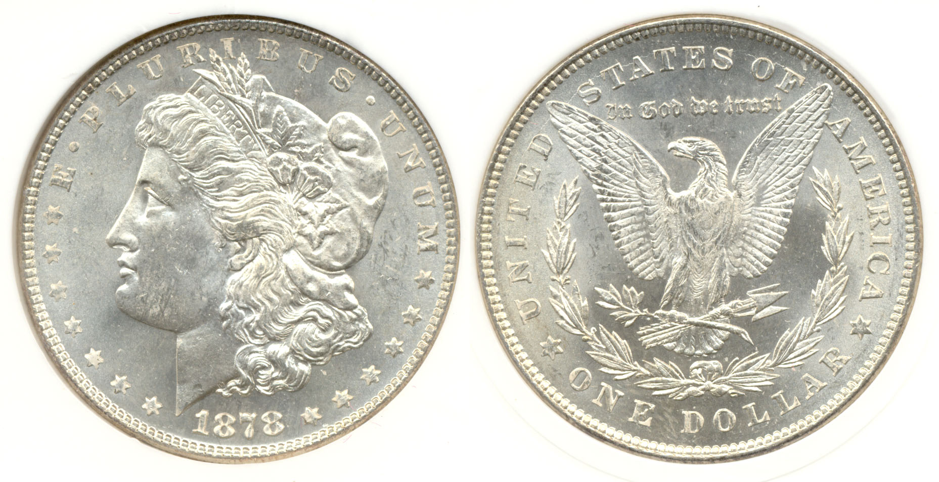 1878 7 over 8 Tail Feathers Morgan Dollar PCI MS-64