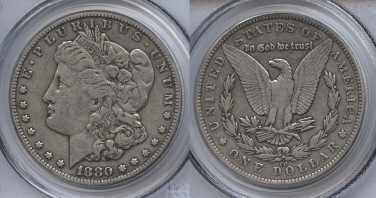 1880-CC Morgan Silver Dollar PCGS VF-30 small