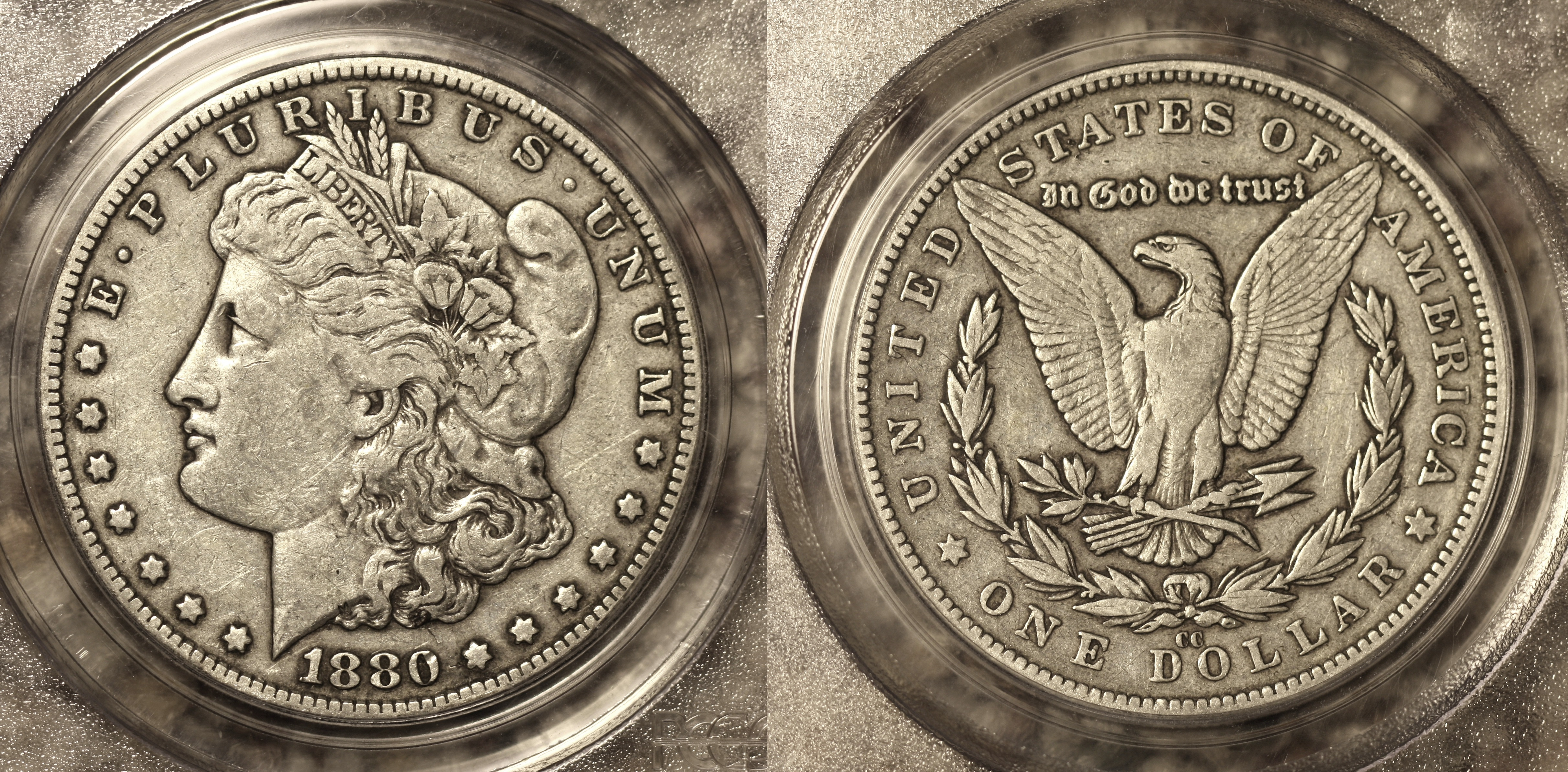 1880-CC Morgan Silver Dollar PCGS VF-30 camera
