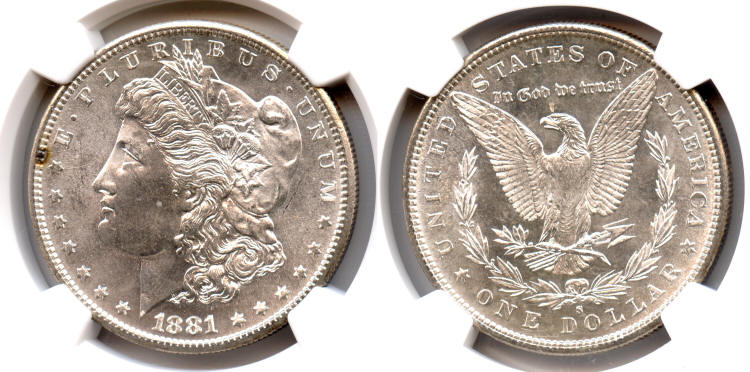 1881-S Morgan Silver Dollar NGC MS-64 small