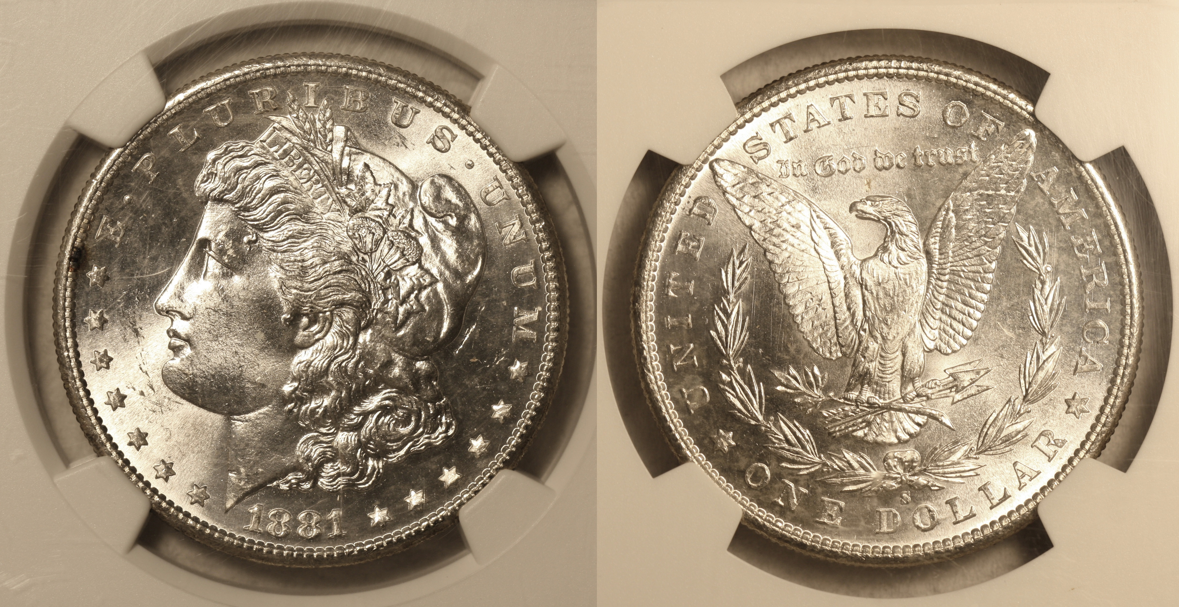 1881-S Morgan Silver Dollar NGC MS-64 camera
