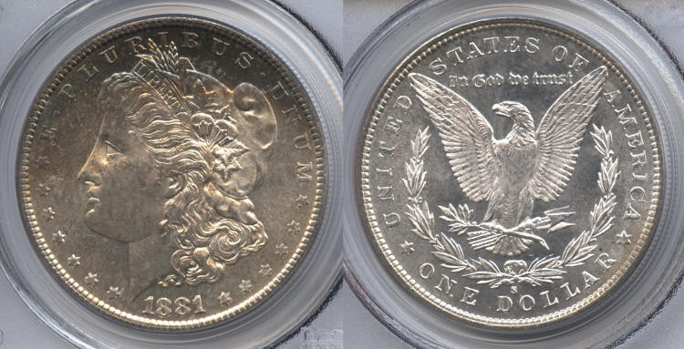 1881-S Morgan Silver Dollar PCGS MS-64 #d small