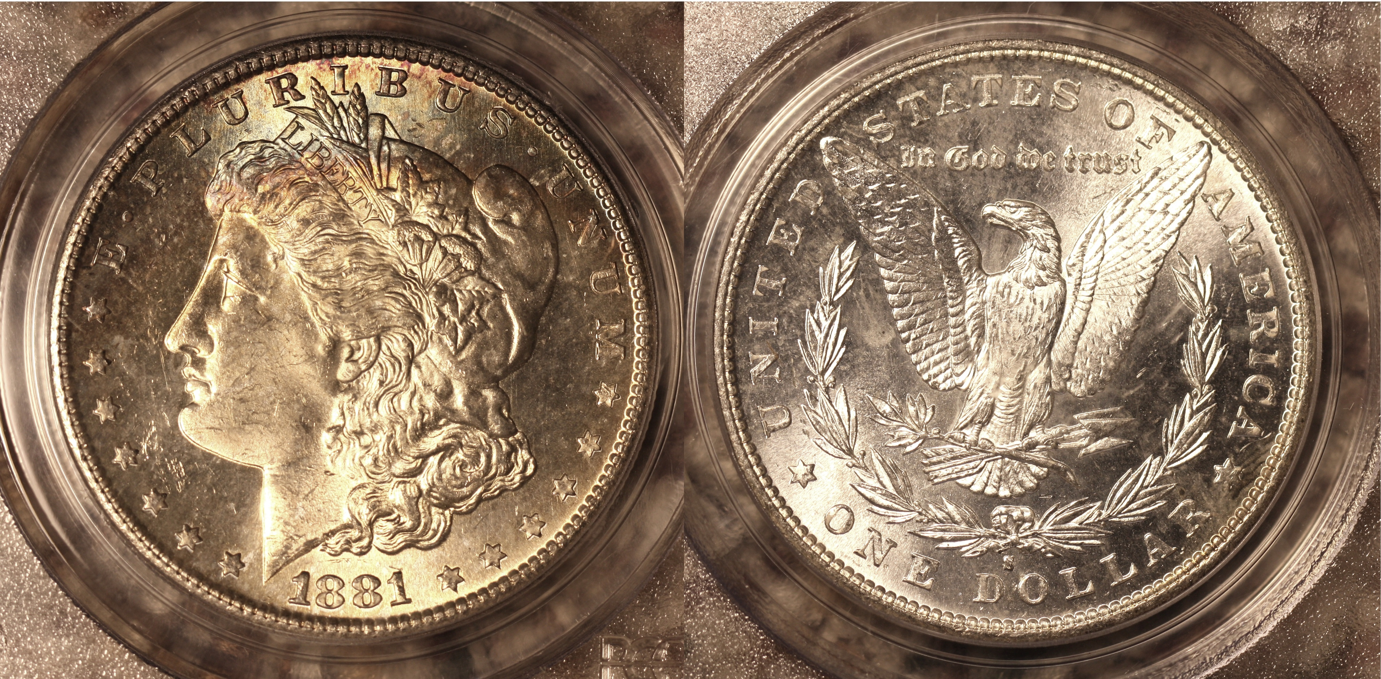 1881-S Morgan Silver Dollar PCGS MS-64 #d camera