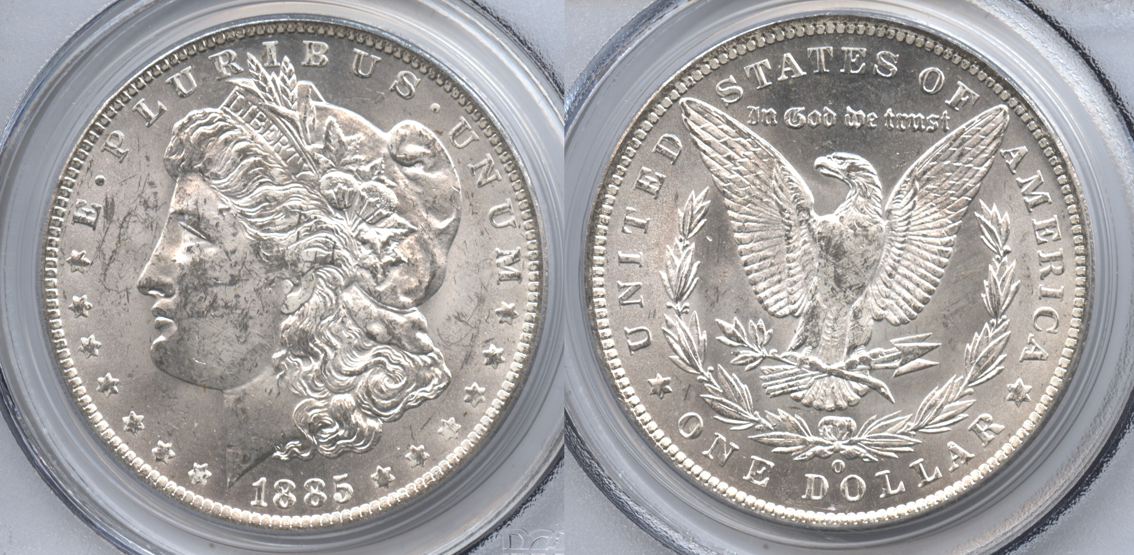 1885-O Morgan Silver Dollar PCGS MS-63 VAM-8, O Shifted Right