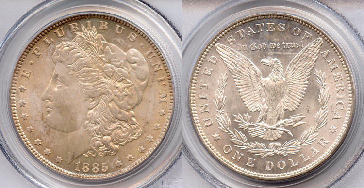 1885 Morgan Silver Dollar PCGS MS-64 small