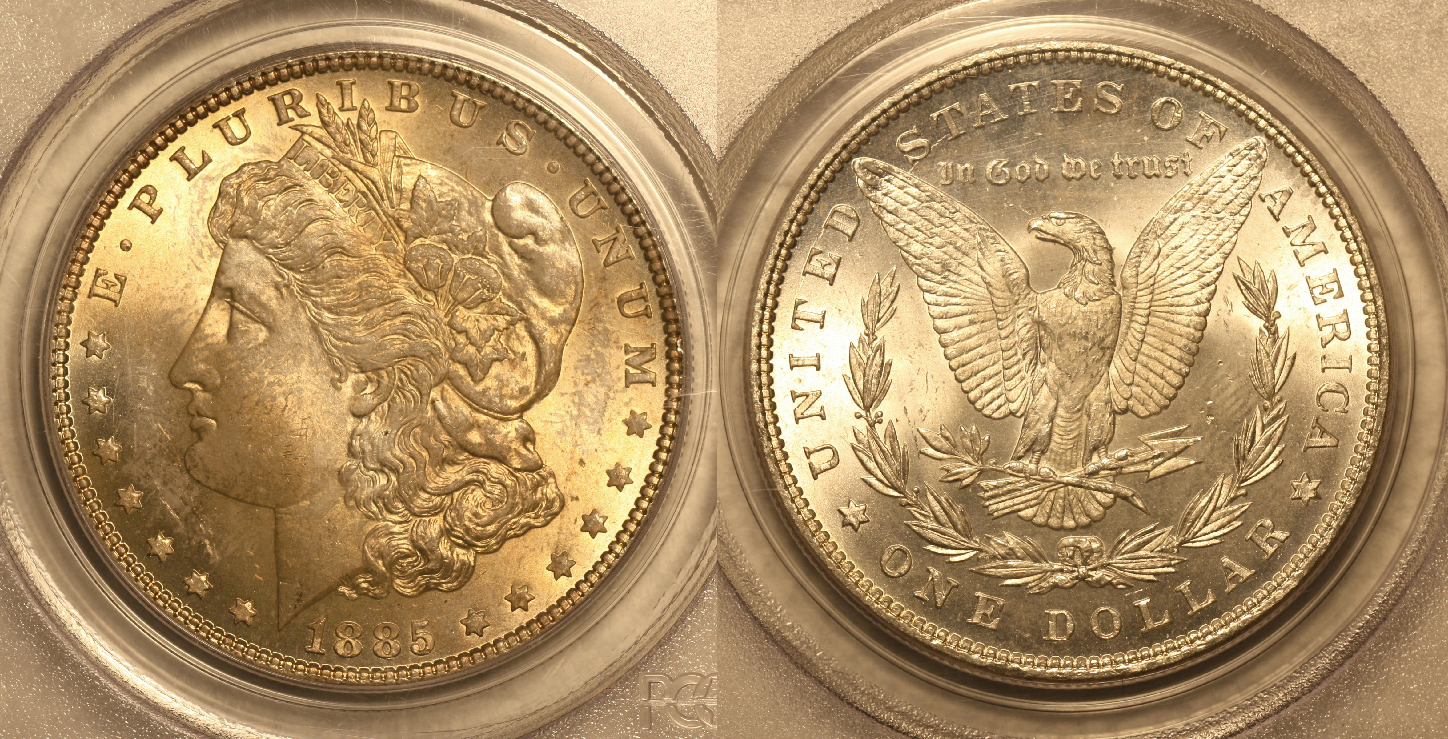 1885 Morgan Silver Dollar PCGS MS-64 camera