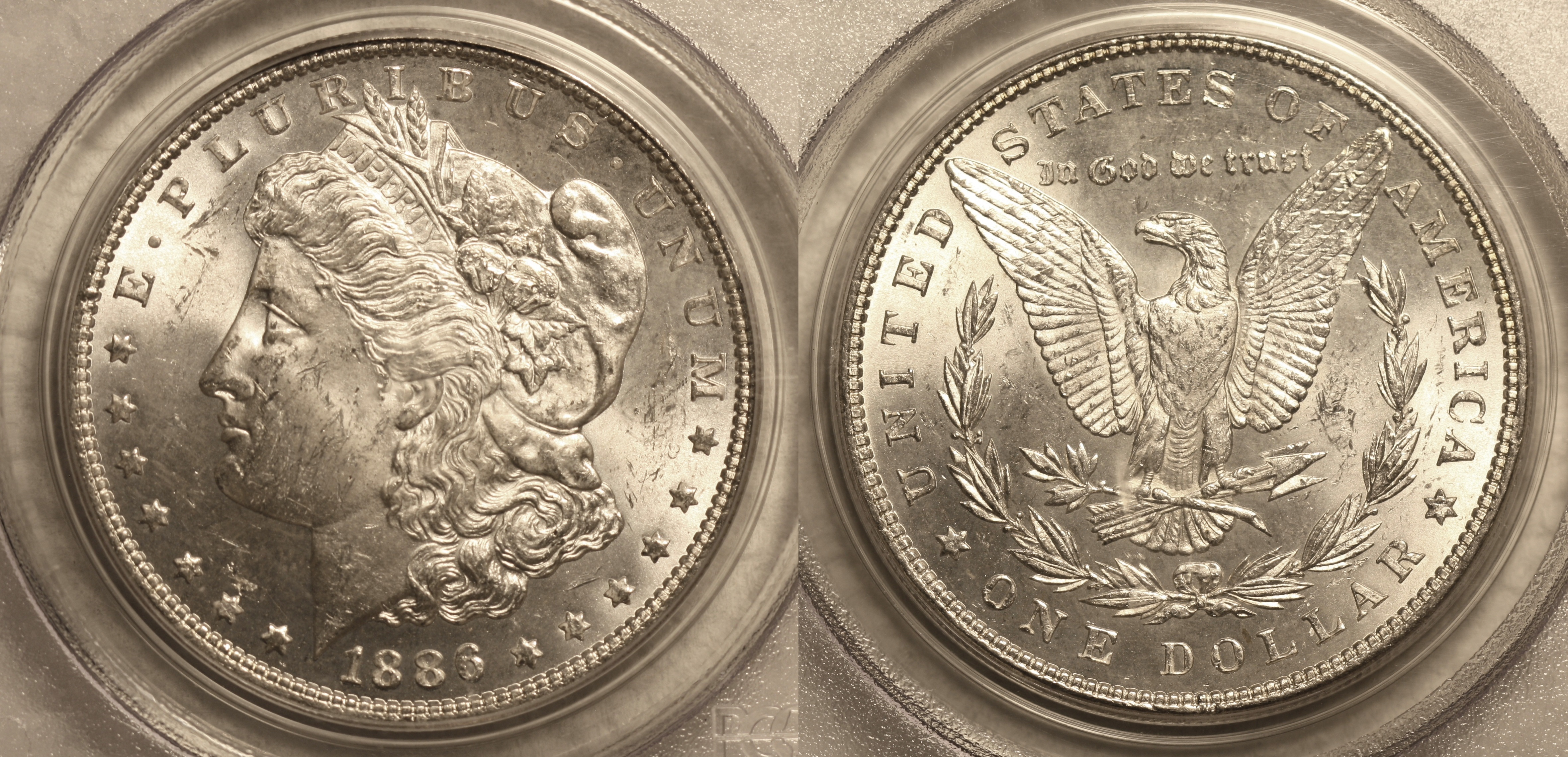 1886 Morgan Silver Dollar PCGS MS-63 #a camera