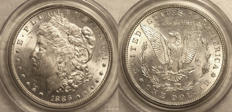 1886 Morgan Silver Dollar PCGS MS-63 #a camera small