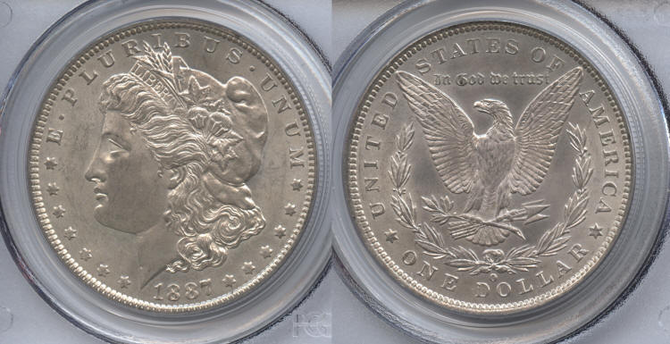 1887-O Morgan Silver Dollar PCGS MS-63 small