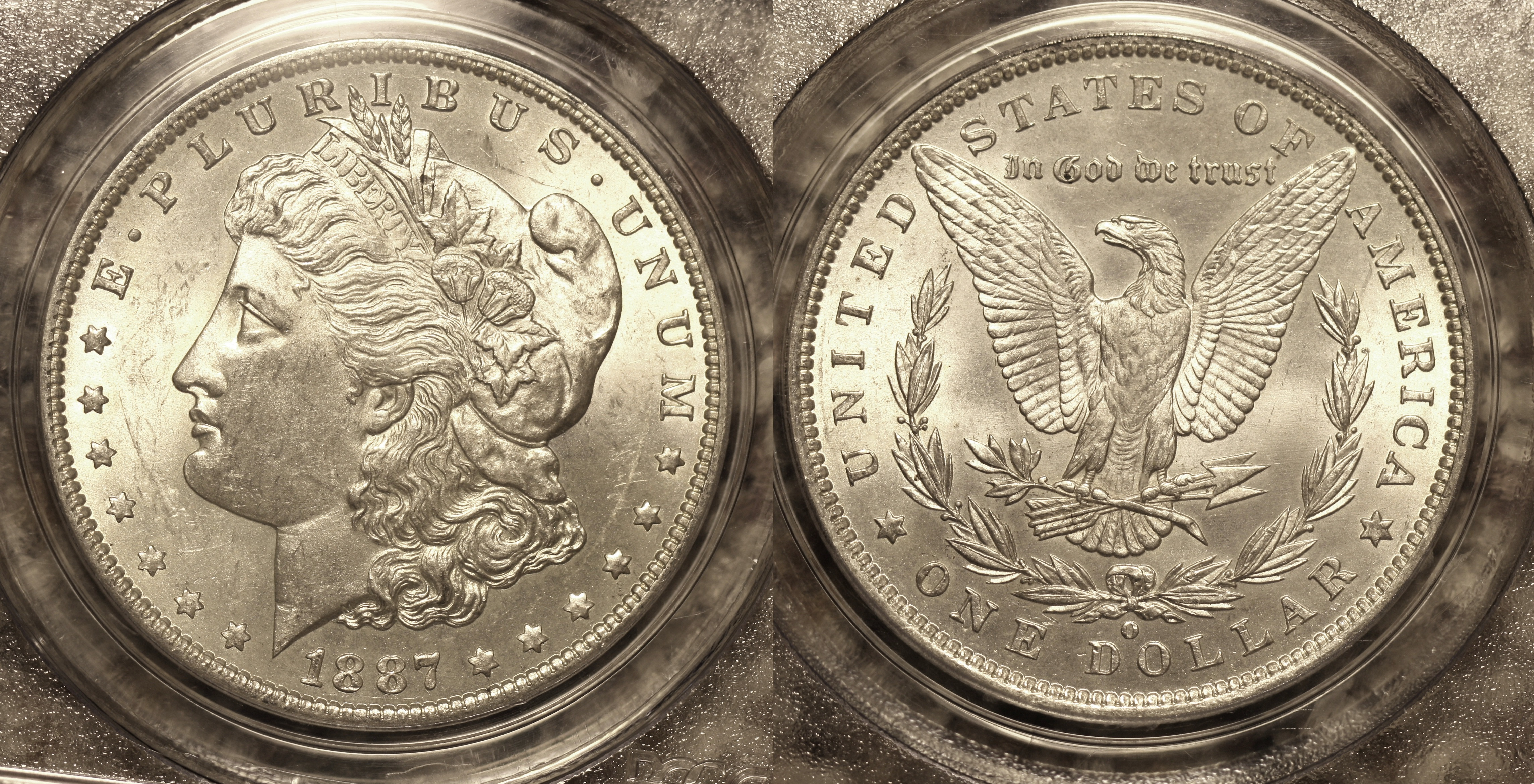 1887-O Morgan Silver Dollar PCGS MS-63 camera