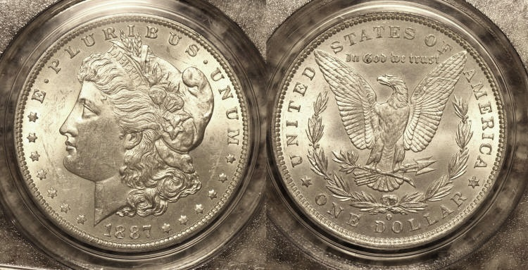 1887-O Morgan Silver Dollar PCGS MS-63 camera small