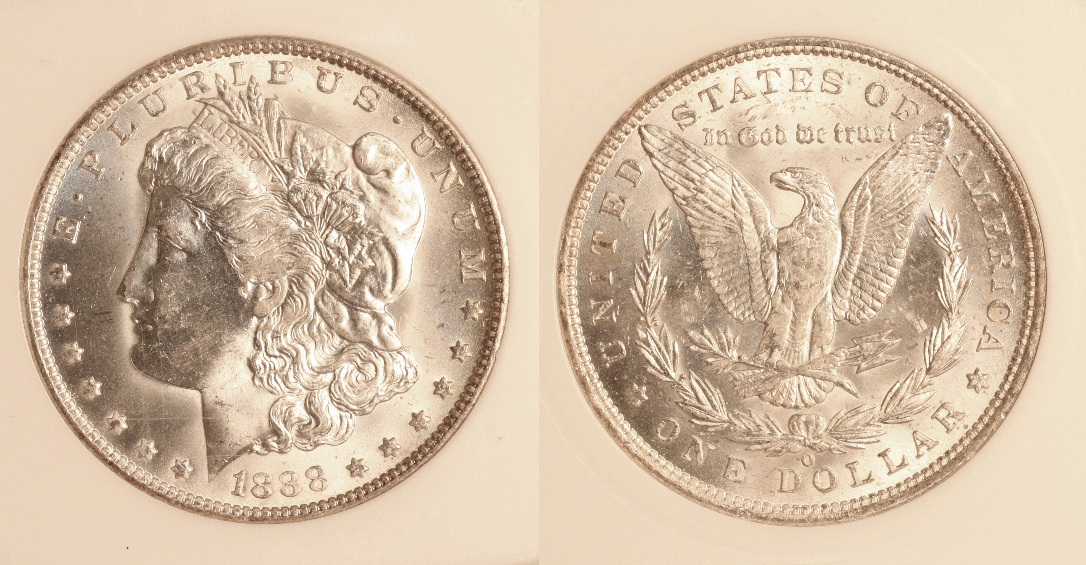 1888-O Morgan Silver Dollar PCI MS-65 camera