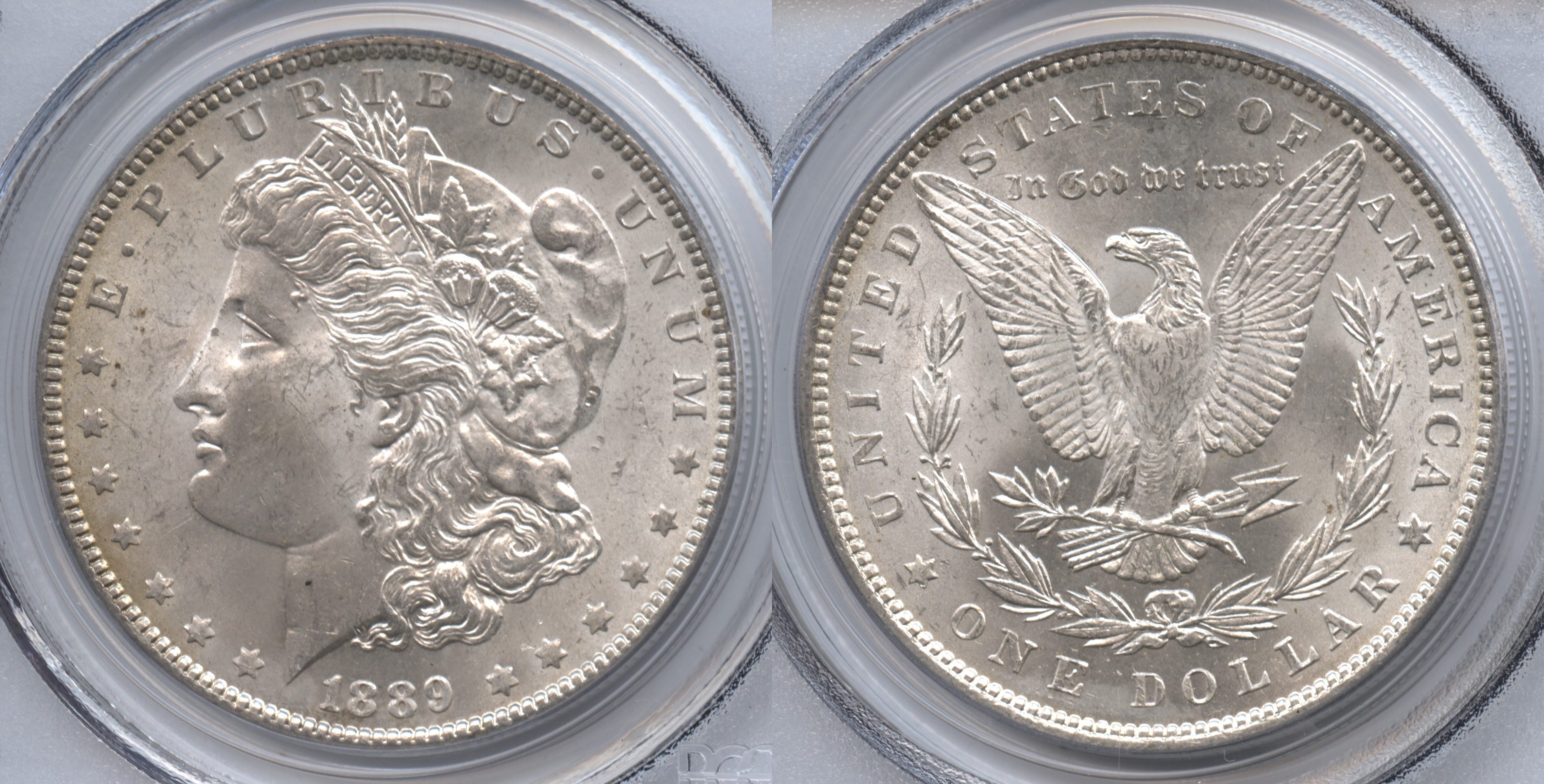 1889 Morgan Silver Dollar PCGS MS-63 VAM-21, Doubled Ear and Lower Cotton Leaves, Far Date