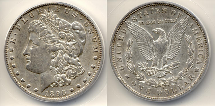 1896-O Morgan Silver Dollar ANACS AU-50 small