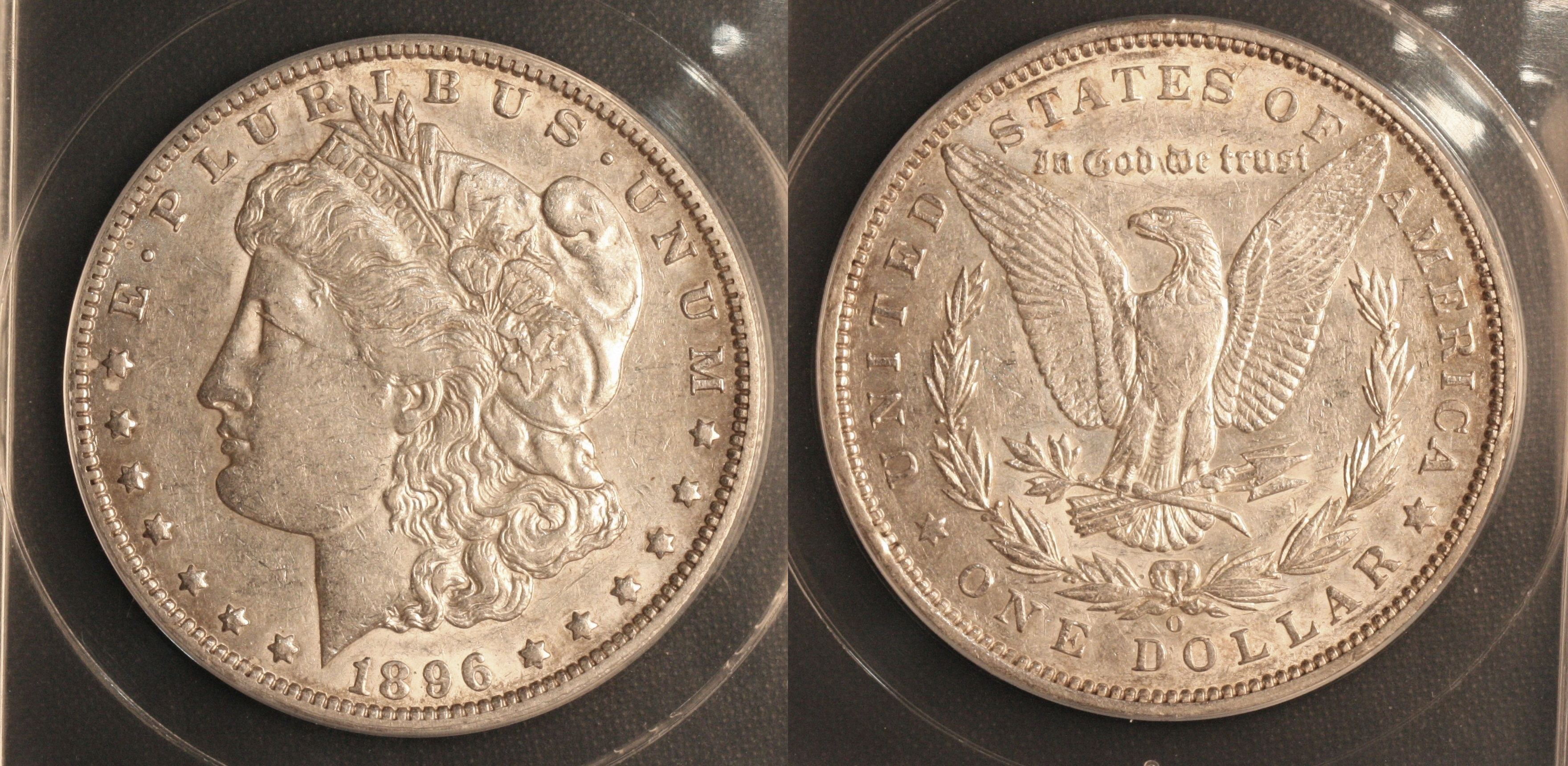 1896-O Morgan Silver Dollar ANACS AU-50 camera