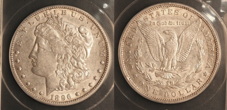 1896-O Morgan Silver Dollar ANACS AU-50 camera small