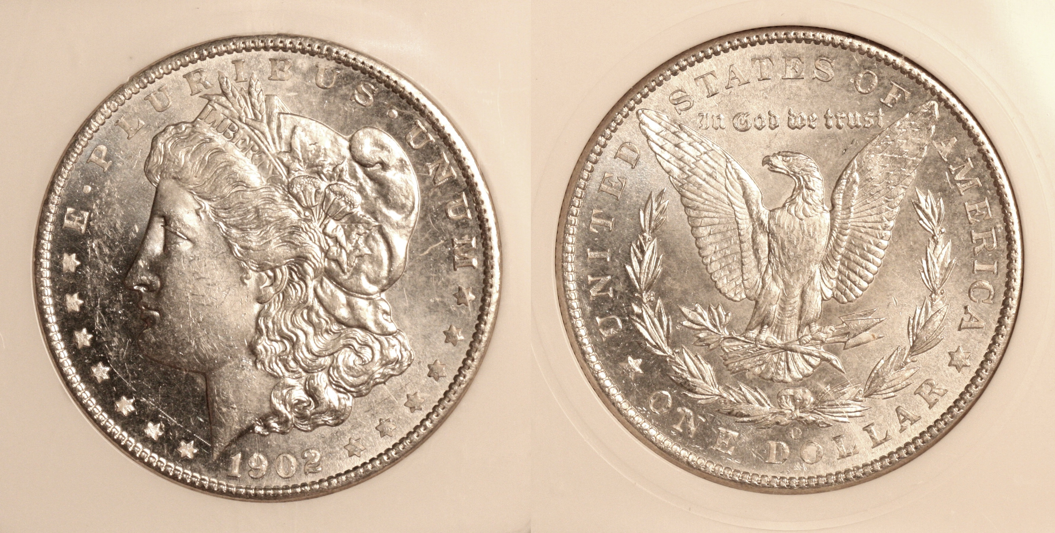 1902-O Morgan Silver Dollar in PCI MS-63 DMPL camera