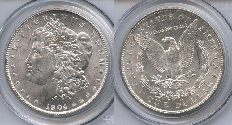 1904-O Morgan Silver Dollar PCGS MS-63 VAM-2A Clashed Obverse, O Tilted Left small