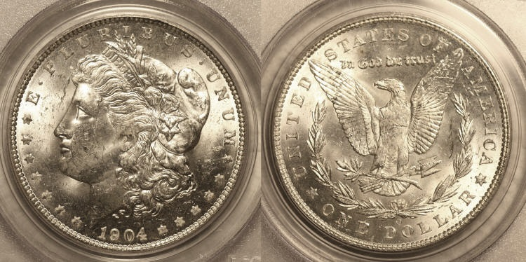 1904-O Morgan Silver Dollar PCGS MS-63 VAM-2A Clashed Obverse, O Tilted Left camera small