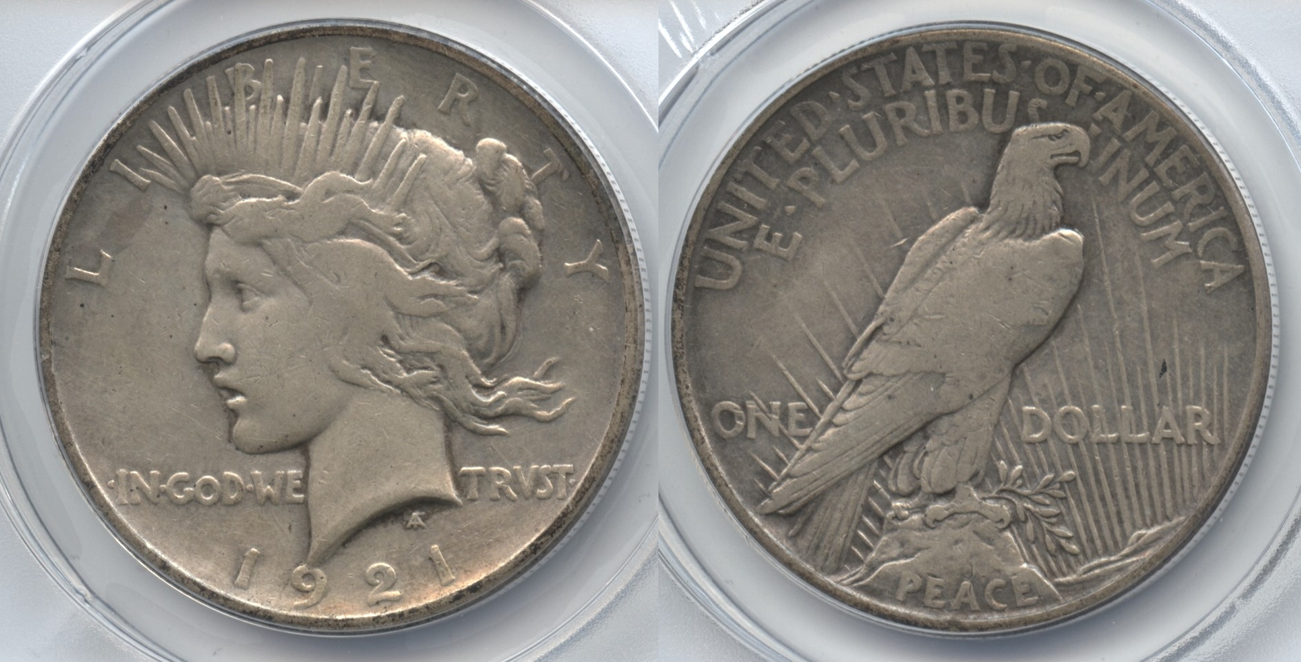 1921 Peace Silver Dollar ANACS VF-30 Details Cleaned