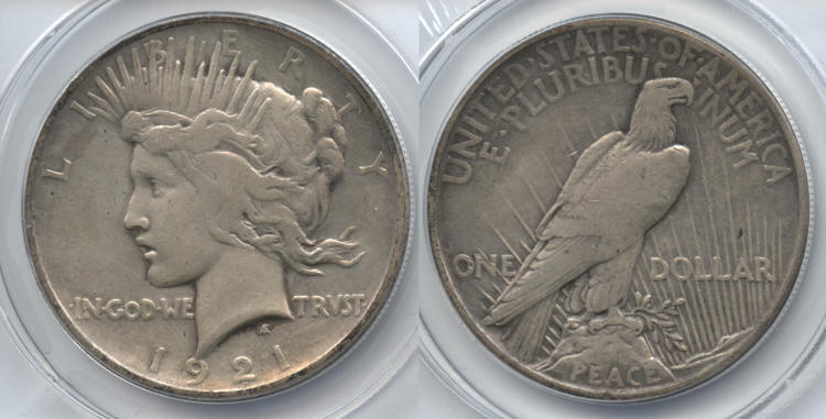 1921 Peace Silver Dollar ANACS VF-30 Details Cleaned small