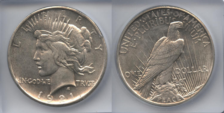 1921 Peace Silver Dollar ICG MS-61 small