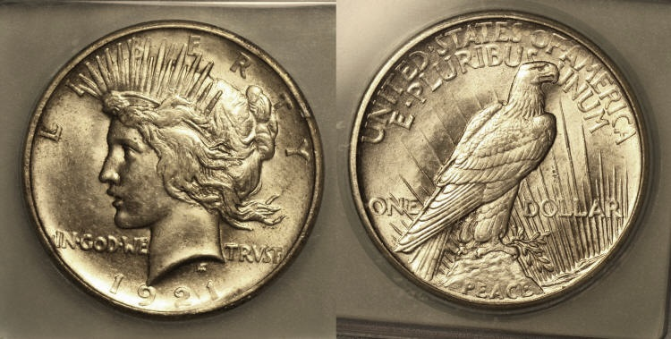 1921 Peace Silver Dollar ICG MS-61 camera small