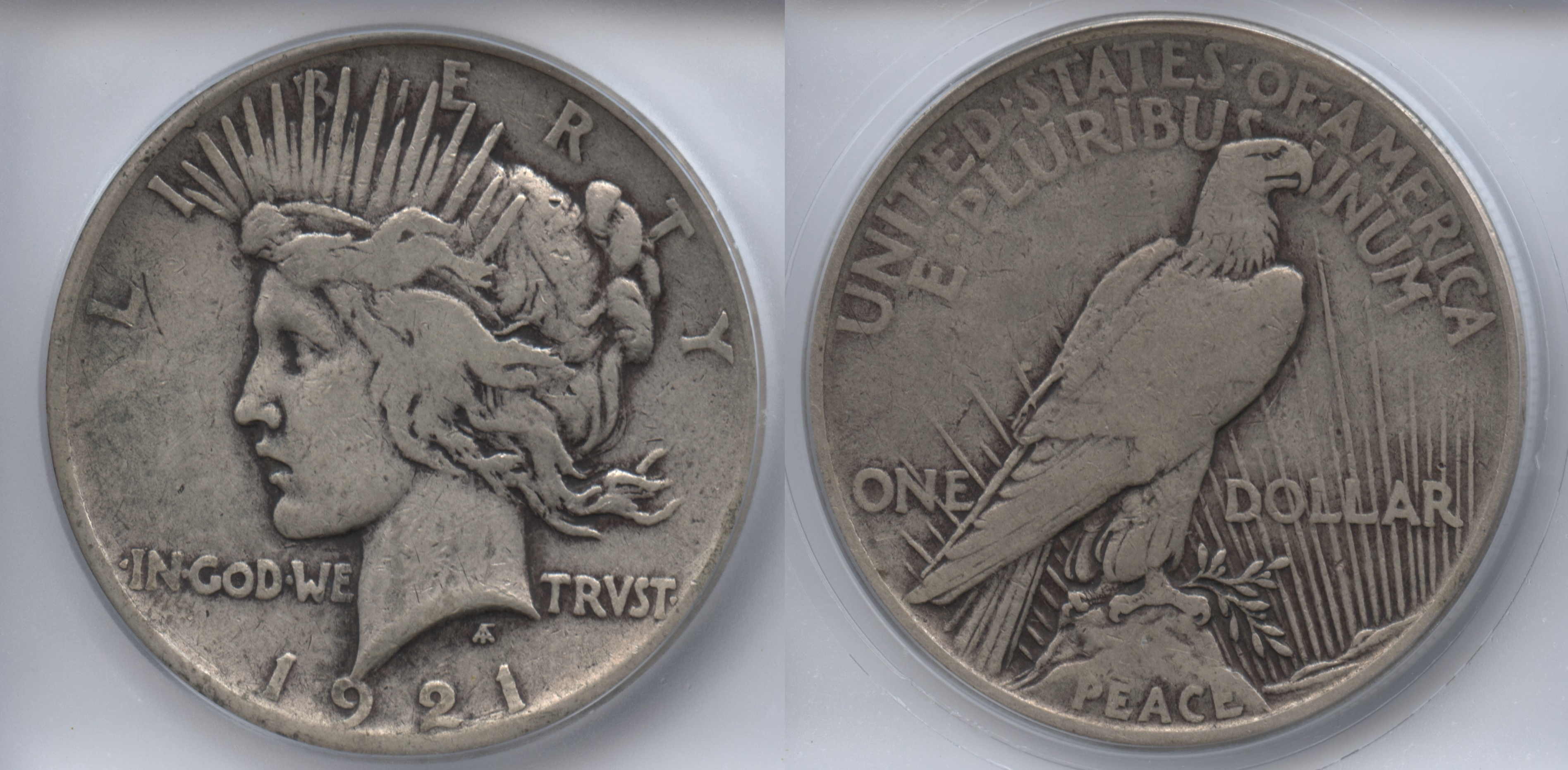 1921 Peace Silver Dollar ICG VF-25