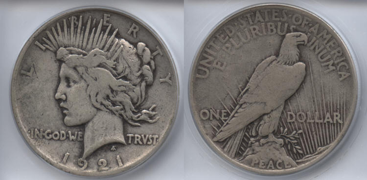 1921 Peace Silver Dollar ICG VF-25 small