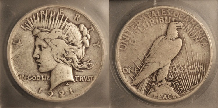 1921 Peace Silver Dollar ICG VF-25 camera small