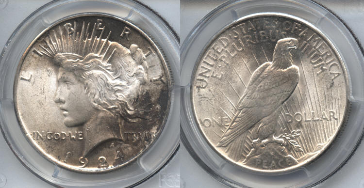 1924 Peace Silver Dollar PCGS MS-64 small