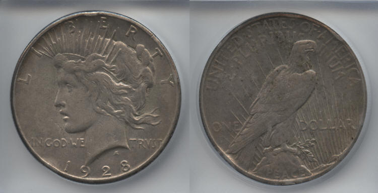 1928 Peace Silver Dollar ICG AU-50 Details small