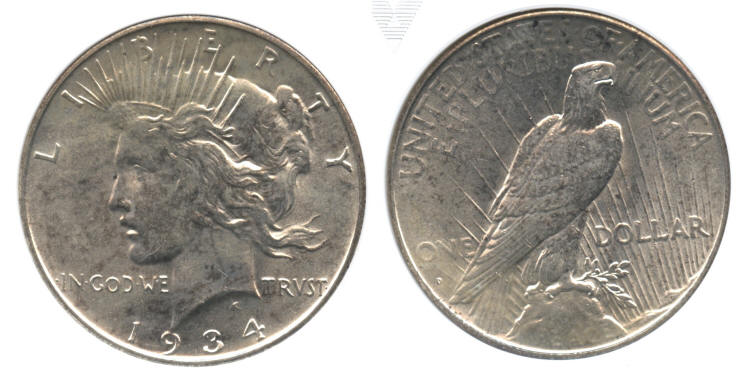 1934-D Peace Silver Dollar ANACS MS-63 small