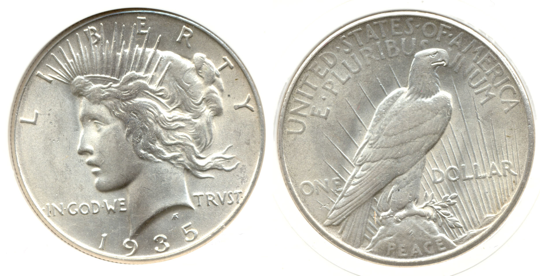 1935 Peace Silver Dollar in PCI MS-64
