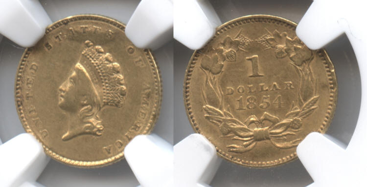 1854 Type II Gold Dollar NGC AU-50 Details small