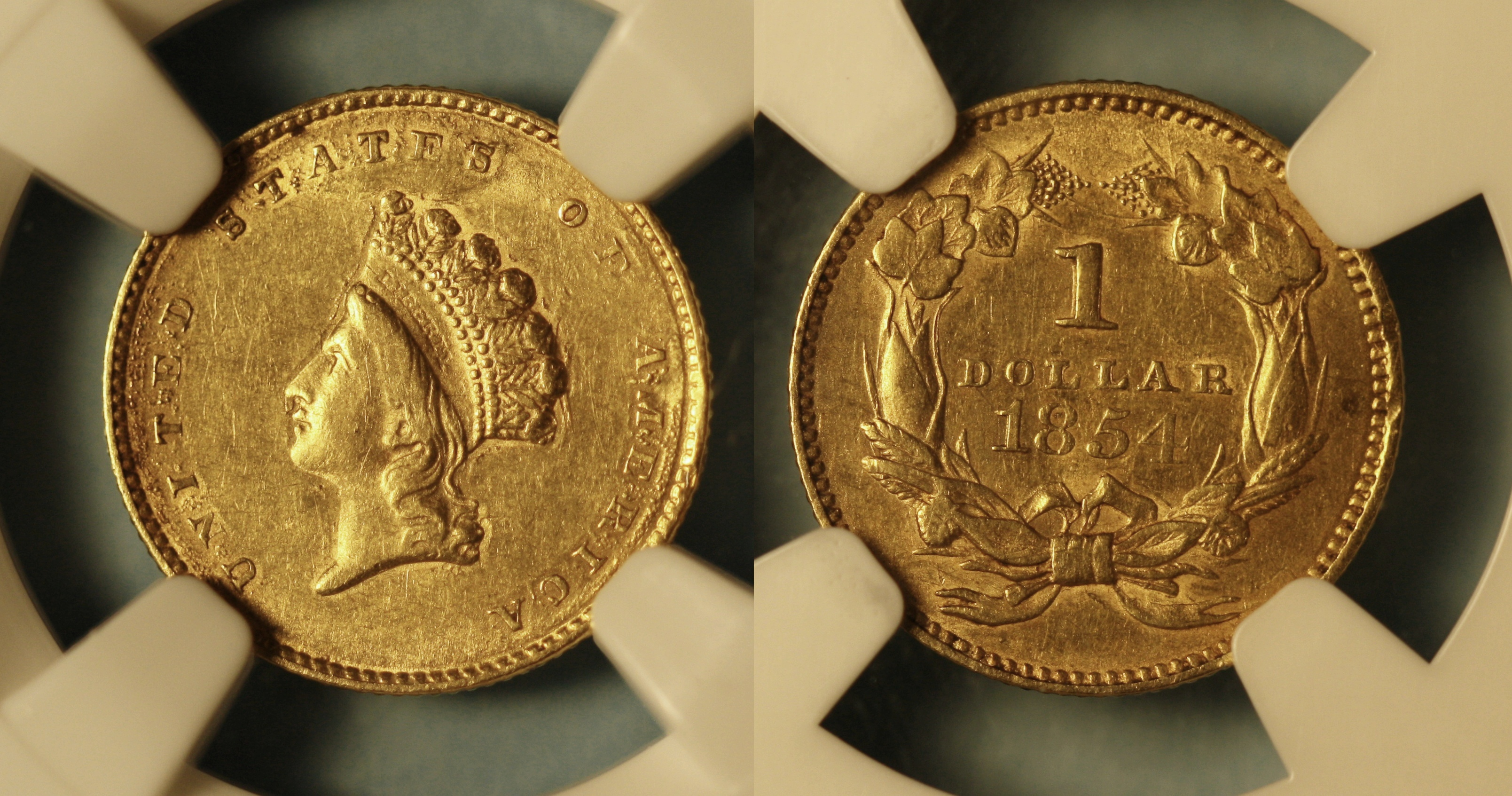 1854 Type II Gold Dollar NGC AU-50 Details camera