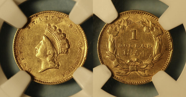 1854 Type II Gold Dollar NGC AU-50 Details camera small