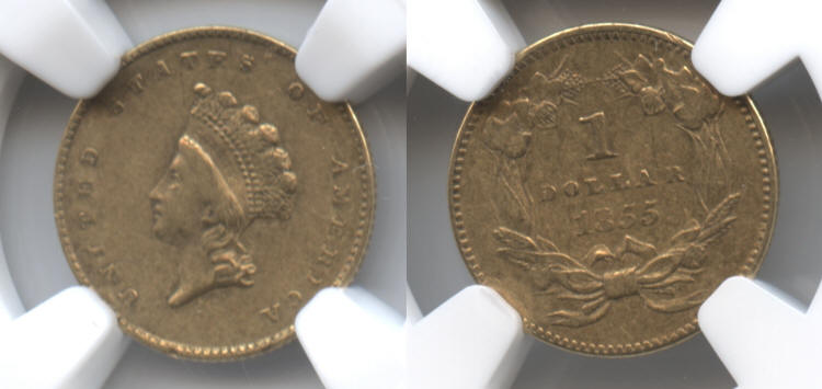 1855 Type II Gold Dollar NGC EF-45 small