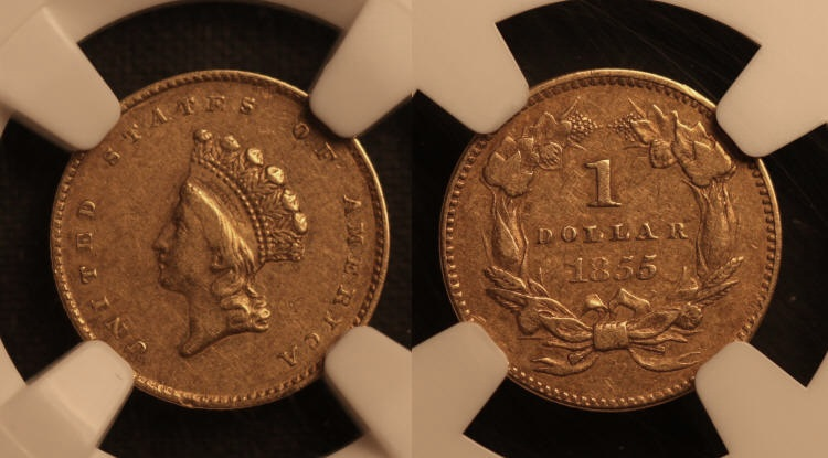 1855 Type II Gold Dollar NGC EF-45 camera small