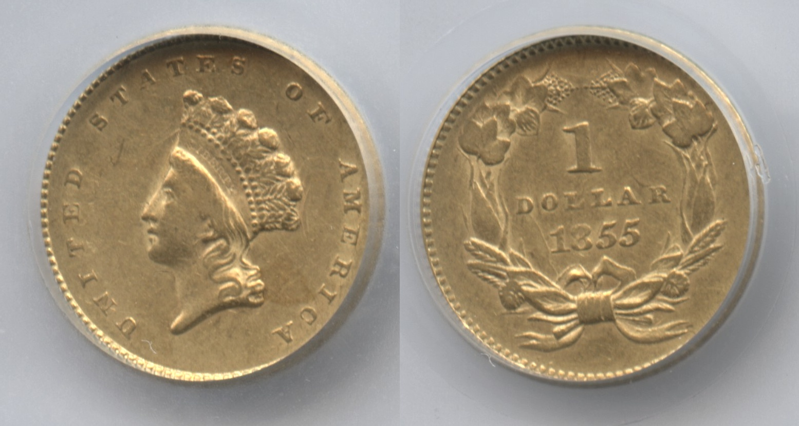 1855 Type 2 Gold Dollar SEGS AU-58