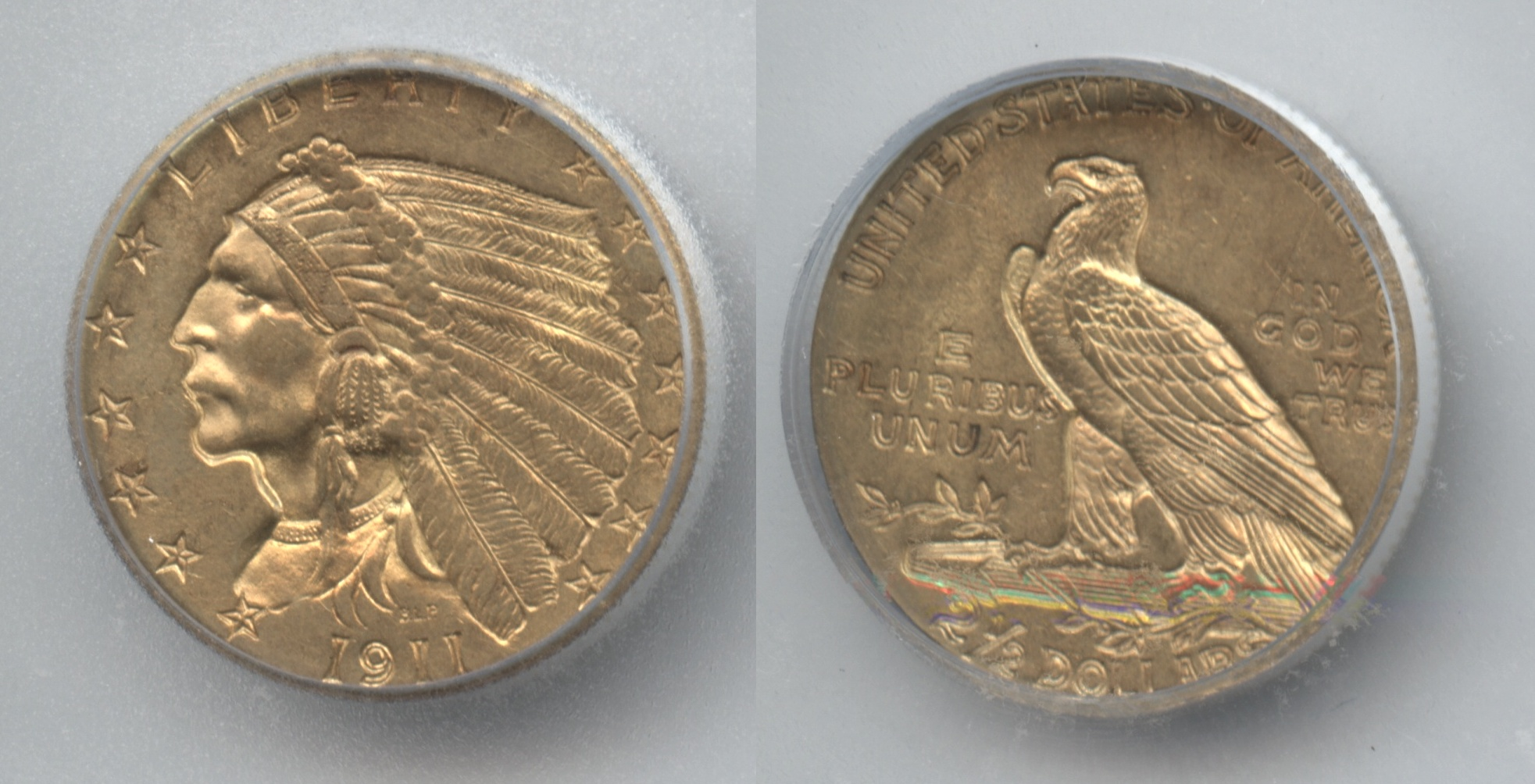 1911 Indian Head Gold $2.50 Quarter Eagle ICG MS-63
