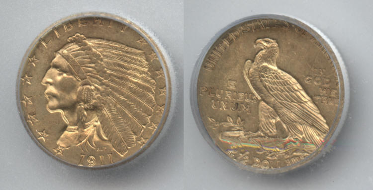1911 Indian Head Gold $2.50 Quarter Eagle ICG MS-63 small