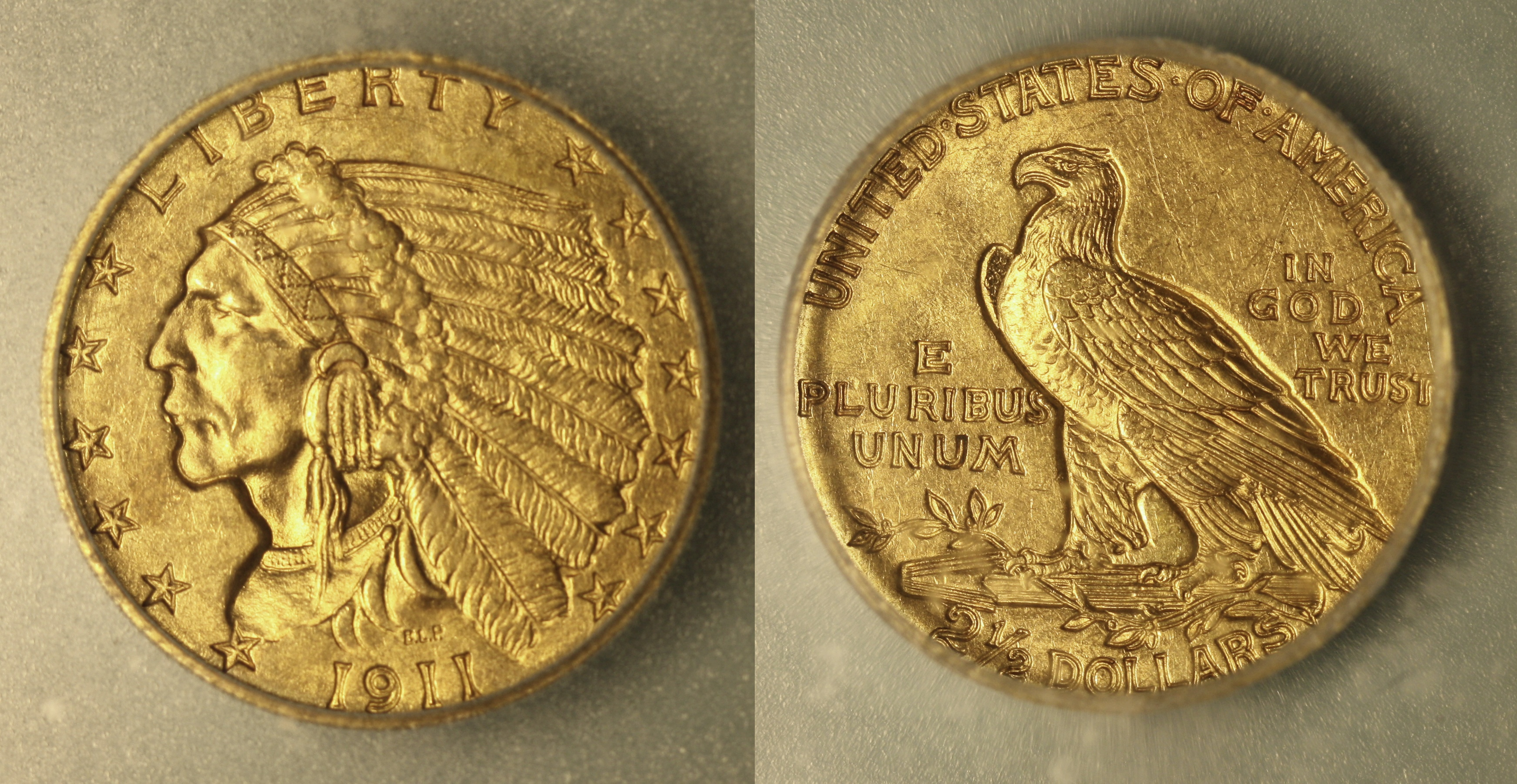 1911 Indian Head Gold $2.50 Quarter Eagle ICG MS-63 camera