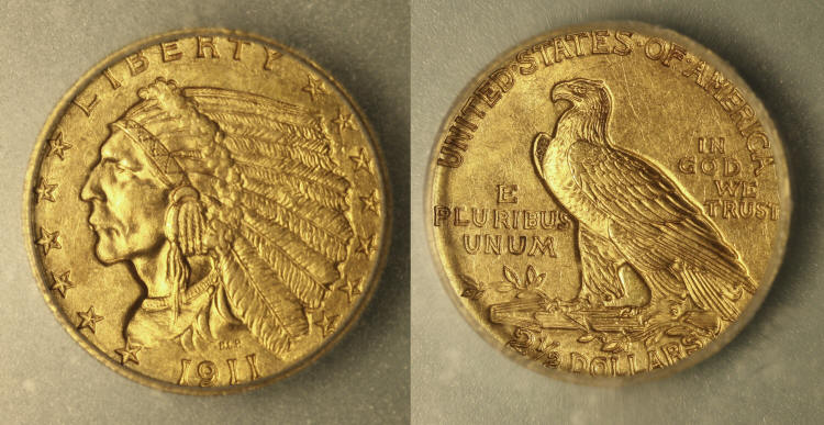1911 Indian Head Gold $2.50 Quarter Eagle ICG MS-63 camera small