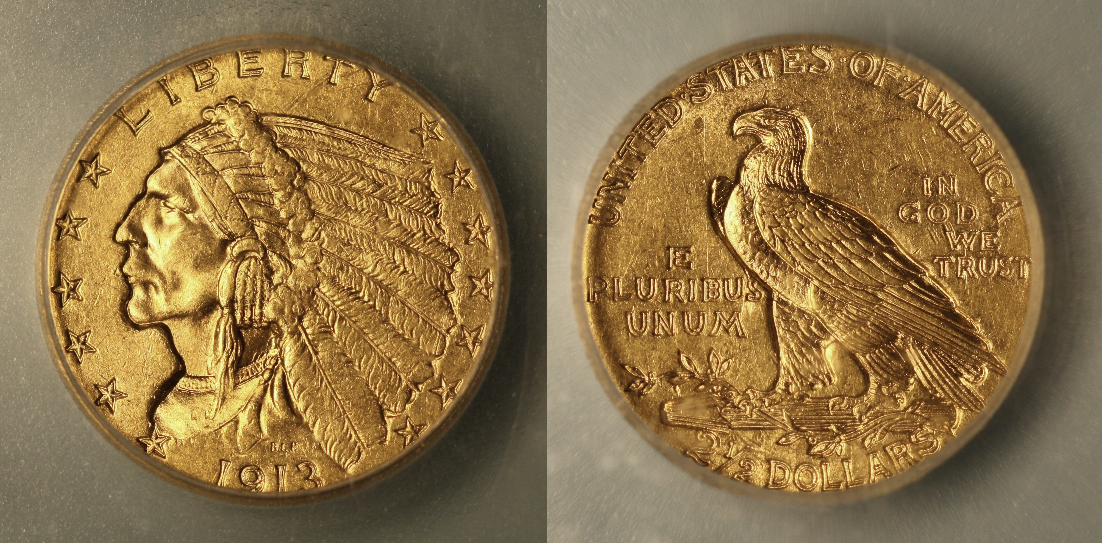 1913 Indian Head Gold $2.50 Quarter Eagle ICG MS-63 camera