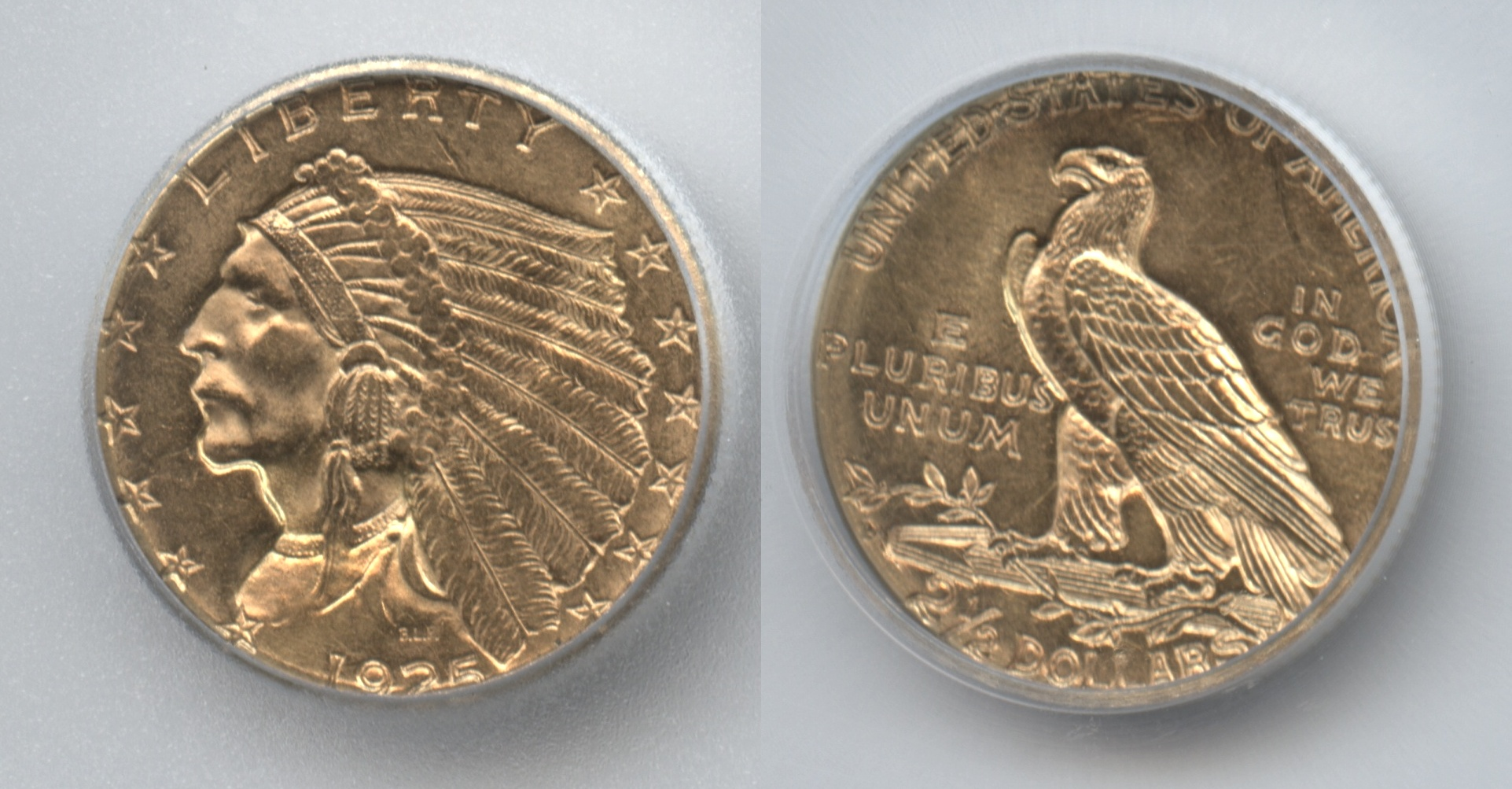 1925-D Indian Head Gold $2.50 Quarter Eagle ICG MS-62