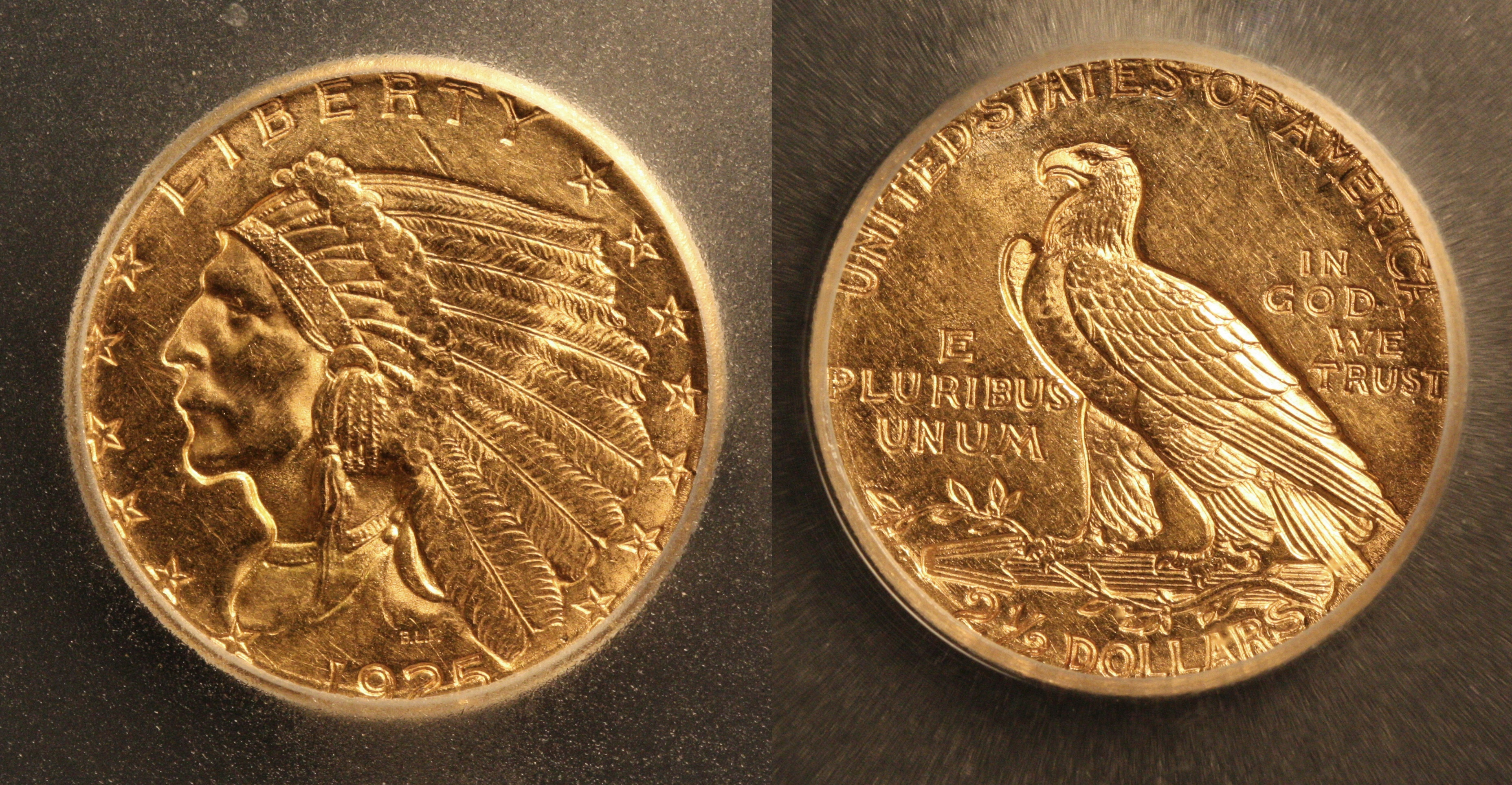 1925-D Indian Head Gold $2.50 Quarter Eagle ICG MS-62 camera