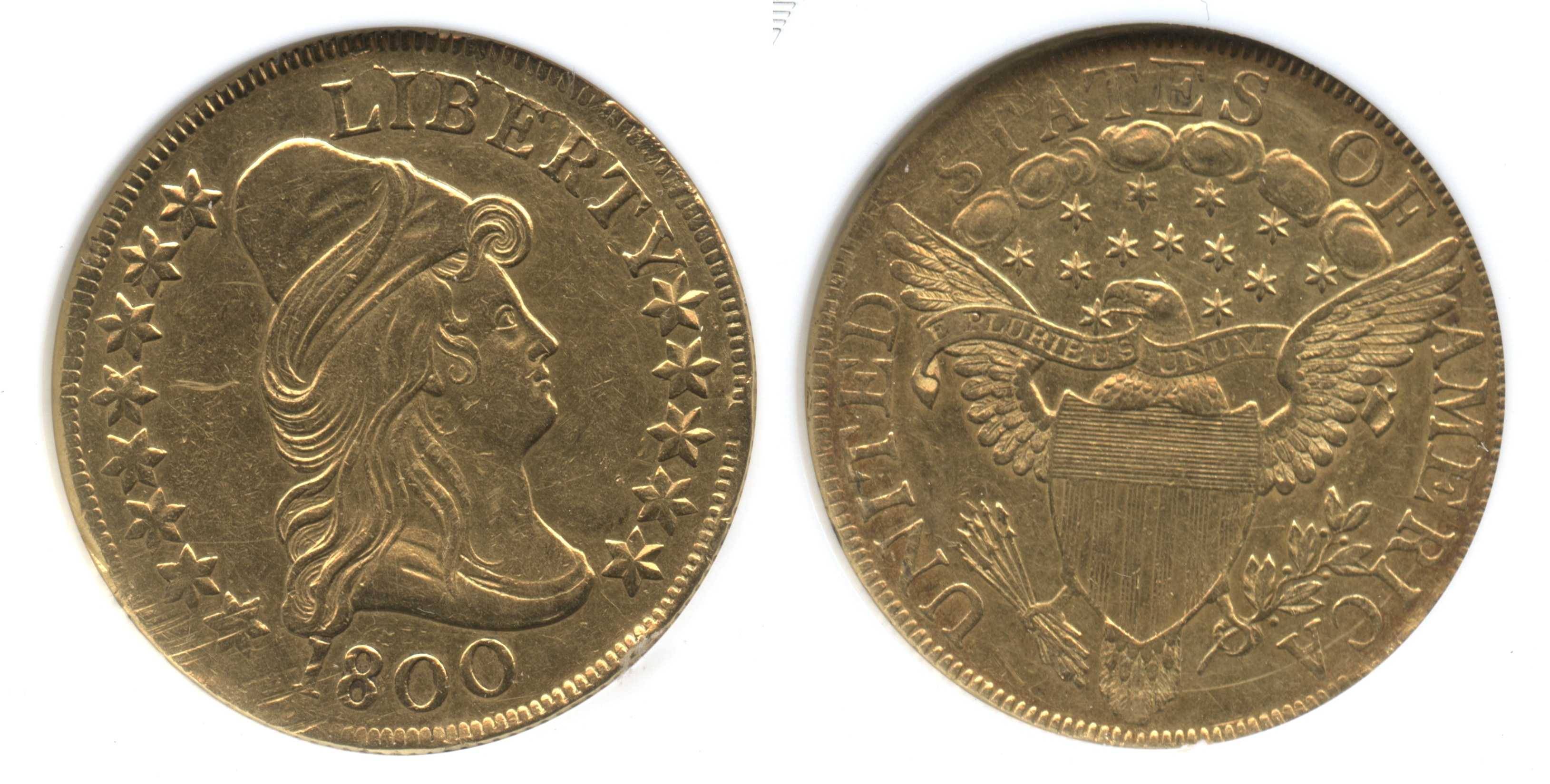 1800 $10 Turban Head Capped Bust Right Gold Eagle ANACS AU Details
