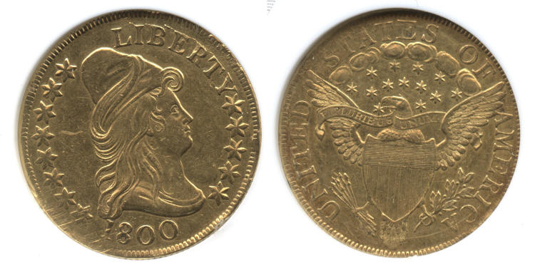 1800 $10 Turban Head Capped Bust Right Gold Eagle ANACS AU Details small